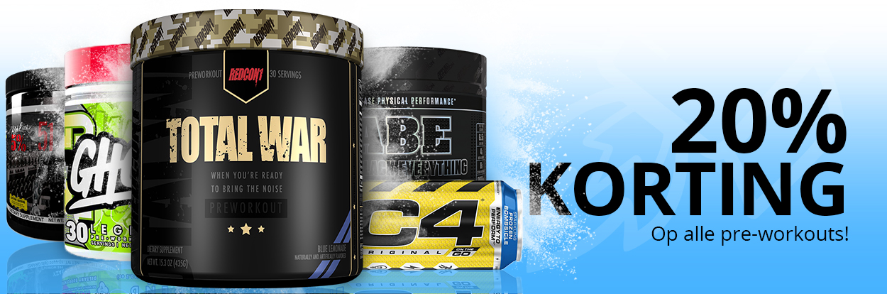20% korting op alle pre-workouts