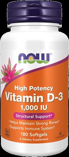 NOW Foods Vitamin D3 1000IU (180 softgels)