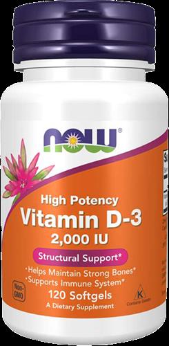 NOW Foods Vitamin D3 2000IU (120 softgels)