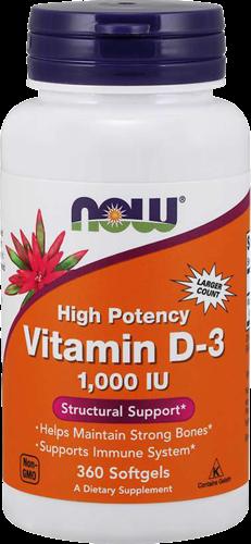 NOW Foods Vitamin D3 1000IU (360 softgels)