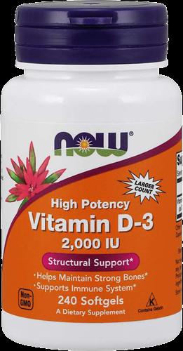 NOW Foods Vitamin D3 2000IU (240 softgels)