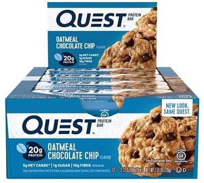 Quest Bar Oatmeal Chocolate Chip (12 x 60 gr) Ten minste houdbaar tot: 06-01-2021