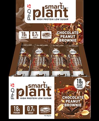 PhD Smart Bars Plant Choc Peanut Brownie (12 x 64 gr)