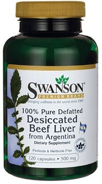 Swanson Dessicated Beef Liver 500MG 100% Pure Defatted (120 Caps)