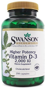 Swanson Vitamin D-3 2000 IU Higher Potency (250 Caps)