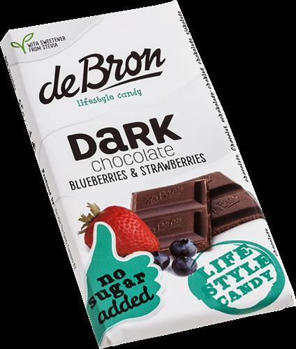 De Bron Suikervrije Chocola Dark Chocolate Berry & Strawberry (85 gr)