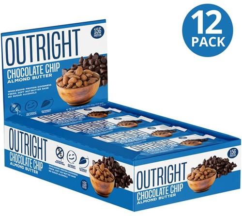 MTS Outright Bar Chocolate Chip Almond Butter (12 x 60 gr) Ten minste houdbaar tot 18-11-2020!