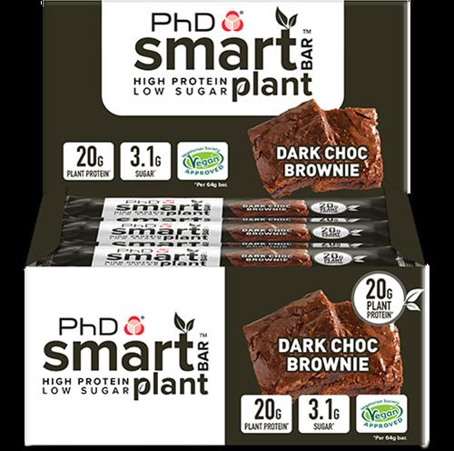 PhD Smart Bars Plant Dark Choc Brownie (12 x 64 gr)