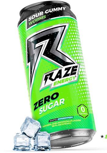 Raze Energy Drink Sour Gummy Worms (12 x 473 ml)