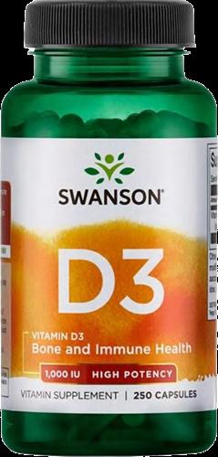 Swanson Vitamin D3 1000IU High Potency (250 caps)