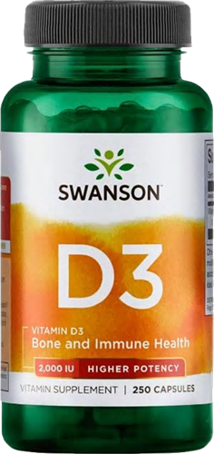 Swanson Vitamin D3 2000 IU Higher Potency (250 Caps)