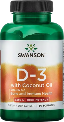 Swanson Vitamin D3 with Coconut Oil 2000IU (60 softgels)